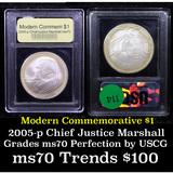 2005-p John Marshall Modern Commem Dollar $1 Graded ms70, Perfection By USCG
