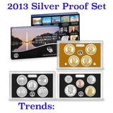 2013 United States Mint Silver Proof Set - 14 pc set, about 1 1/2 ounces of pure silver