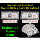 50x 1963 $2 Red Seal United States Notes Circulated Grades