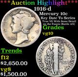 ***Auction Highlight*** 1916-d Mercury Dime 10c Grades vg+ (fc)