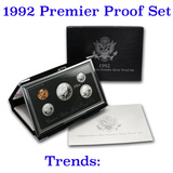1992 United States Mint Premier Silver Proof Set in Display case