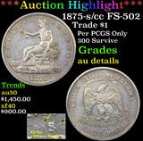 ***Auction Highlight*** 1875-s /cc FS-502 Trade Dollar $1 Grades AU Details (fc)