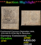 ***Auction Highlight*** Continental Currency September 26th, 1778 $20 Fr-CC82 Sig G. Snowden Grades