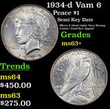 1934-d Vam 6  Peace Dollar $1 Grades Select+ Unc