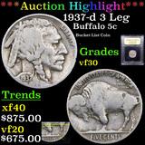 ***Auction Highlight*** 1937-d 3 Leg Buffalo Nickel 5c Graded vf++ By USCG (fc)