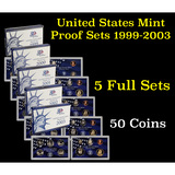 Group of 5 United States Proof Sets 1999-2003 50 coins