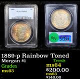 PCGS 1889-p Rainbow Toned Morgan Dollar $1 Graded ms63 By PCGS