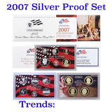 2007 United States Mint Silver Proof Set - 14 Piece set, about 1 1/2 ounces of pure silver
