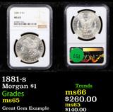 NGC 1881-s Morgan Dollar $1 Graded ms65 By NGC