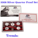 2008 United States Quarters Silver Proof Set - 5 pc set  Low mintage
