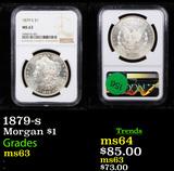 NGC 1879-s Morgan Dollar $1 Graded ms63 By NGC