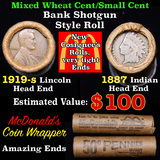 Mixed small cents 1c orig shotgun roll, 1919-s Wheat Cent, 1887 Indian Cent other end, McDonalds Wra
