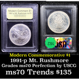 1991-p Mount Rushmore Modern Commem Dollar $1 Graded ms70, Perfection By USCG