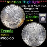 ***Auction Highlight*** 1887/18-p Vam 10A Morgan Dollar 1 Graded GEM+ Unc By USCG (fc)