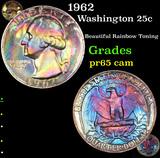 Proof 1962 Washington Quarter 25c Grades GEM Proof Cameo