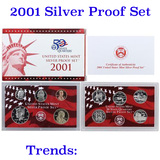 2001 United States Silver Proof Set - 10 pc set, about 1 1/2 ounces of pure silver