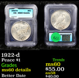 1922-d Peace Dollar $1 Graded ms60 Details By ICG