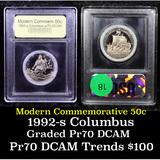 Proof 1992-S Columbus Modern Commem Half Dollar 50c Graded GEM++ Proof Deep Cameo By USCG