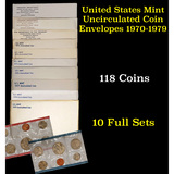 Group of 10 United States Mint Uncurculated Coin Sets In Original Government Packaging 1970-1979 118