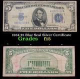 1934 $5 Blue Seal Silver Certificate Grades f+