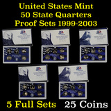 Group of 5 United States Quarters Proof Sets 1999-2003 25 coins