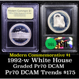 Proof 1992-W White House Modern Commem Dollar $1 Graded GEM++ Proof Deep Cameo By USCG