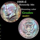 1968-d Kennedy Half Dollar 50c Grades Select+ Unc