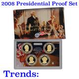 2008 PRESIDENTIAL Dollar Proof Set DEEP CAMEO Mint Coins w/coa
