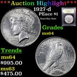 ***Auction Highlight*** 1927-d Peace Dollar 1 Graded Choice Unc By USCG (fc)