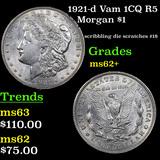 1921-d Vam 1CQ R5 Morgan Dollar 1 Grades Select Unc