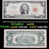 1963 $2 Red Seal United States Note Low Serial Number Grades Choice AU/BU Slider