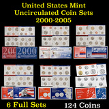 Group of 6 2000-2005 P&D Mint Sets 124 Coins total