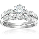 Decadence Sterling Silver 5mm Round Cut Set With Multi Cut Bands Size 6