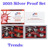 2005 United States Silver Proof Set - 11 pc set, about 1 1/2 ounces of pure silver