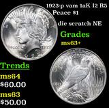 1923-p vam 1aK I2 R5 Peace Dollar $1 Grades Select+ Unc