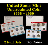 1968 & 1969 United States Mint Uncurculated Coin Sets In Original Government Packaging 20 coins