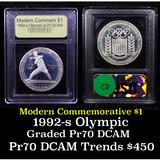Proof 1992-S Olympic Modern Commem Dollar $1 Graded GEM++ Proof Deep Cameo By USCG