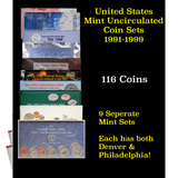 Group of 9 United States Mint Uncurculated Coin Sets In Original Government Packaging 1991-1999 116