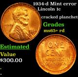 1934-d Mint error Lincoln Cent 1c Grades Gem+ Unc RD