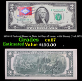 1976 $2 Federal Reserve Note 1st Day of Issue, with Stamp (Ivel, KY) Grades Gem++ CU