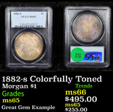 PCGS 1882-s Colorfully Toned Morgan Dollar $1 Graded ms65 By PCGS