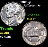 1961-p Jefferson Nickel 5c Grades GEM+ Unc