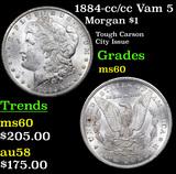 1884-cc /cc Vam 5 Morgan Dollar $1 Grades BU