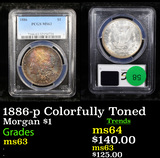 PCGS 1886-p Colorfully Toned Morgan Dollar $1 Graded ms63 By PCGS