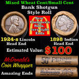 Mixed small cents 1c orig shotgun roll, 1924-s Wheat Cent, 1898 Indian Cent other end, McDonalds Wra