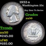 1932-s Washington Quarter 25c Grades AU, Almost Unc