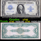 1923 $1 large size Blue Seal Silver Certificate, Signatures of Speelman & White Grades xf