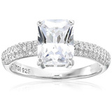 Decadence Strling Silver 7x9mm Emerald Cut Pave Band Ring Zize 8
