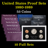 Group of 10 United States Proof Sets 1980-1989 53 coins