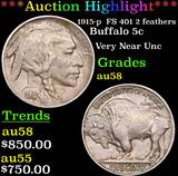 ***Auction Highlight*** 1915-p  FS 401 2 feathers Buffalo Nickel 5c Grades Choice AU/BU Slider (fc)
